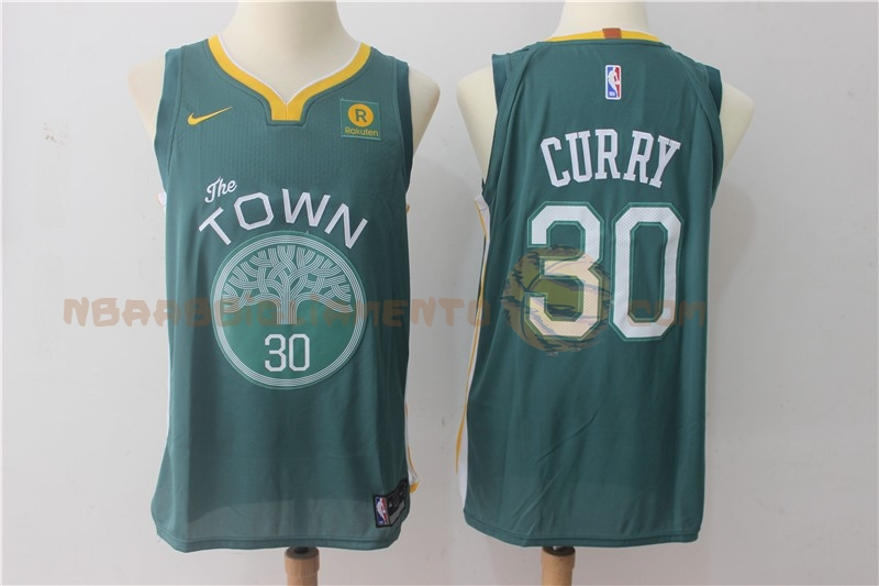 Vendita Nuove Maglia NBA Nike Golden State Warriors NO.30 Stephen Curry Verde 2017-18